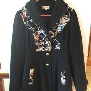 🎉SALE! Papillon Embroidered Cute Wool Winter Coat